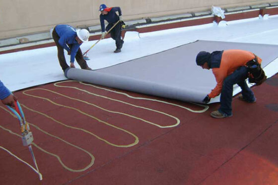 Commercial Roofing GAF Workers Installing Photo